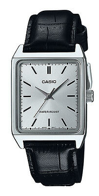 Casio MTP-V007L-7E1 Men's Rectangular leather Strap Silver Dial Dress Watch