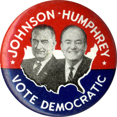 1964 Johnson Humphrey VOTE DEMOCRATIC Jugate Campaign Button (2885)