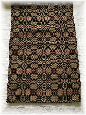 """Primitive Style Woven Runner Red Black  Tan Farmhouse 16"""" x 56"""" Coverlet Table"""