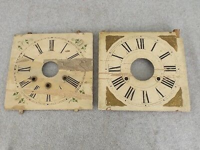 2 Old 1800S Antique Wooden Ogee Lg Shelf Mantle Clock Dials Dial Lot Clock Parts