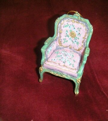 VTG Style Victorian Pink Chair Christmas Ornament  French Louis MINT