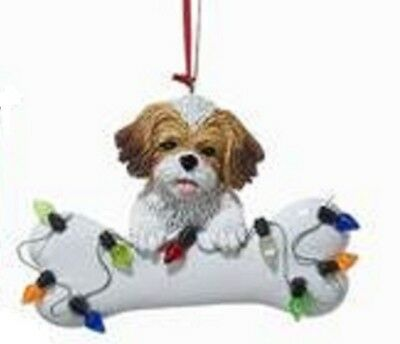 DogBone SHIH TZU BROWN w/Dog Bone & Lights Resin Christmas Ornament