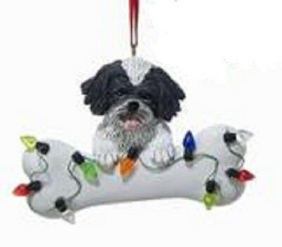 DogBone SHIH TZU BW w/Dog Bone & Lights Resin Christmas Ornament