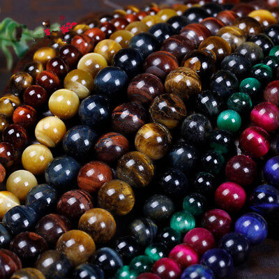 Bulk Natural Tiger's Eye Gemstone Loose Round Beads Jewelry Findings 6mm-10mm