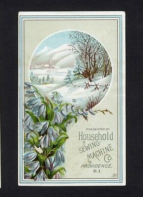 HOUSEHOLD SEWING MACHINE Victorian Trade Card 1880's Snow Scene