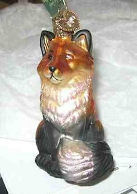 Old World Christmas RED FOX Sitting Blown Glass Tree Ornament