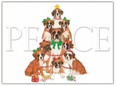 Ten Cards Pack BOXER Peace Dog Breed Christmas Cards USA made