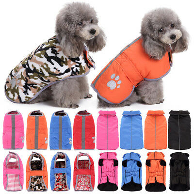 Reversible Dog Puppy Pet Warm Waterproof Fleece Lined Jacket Coat Clothes XS-4XL