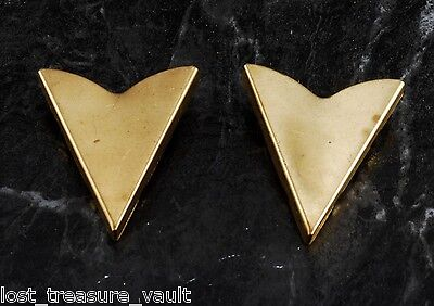 Vintage Collar Tips Western PLain Pair Steel Metal Screw Signed Made in USA