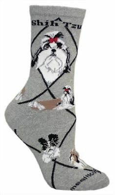 Adult Size Medium SHIH TZU Adult Socks/Grey Made in USA