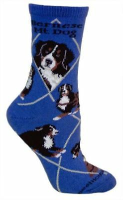 Adult Size Medium BERNESE MOUNTAIN DOG Adult Socks/Blue Made in USA