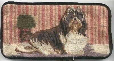 NP eyeglass SHIH TZU B/W II Needlepoint Eyeglass Case RETIRED