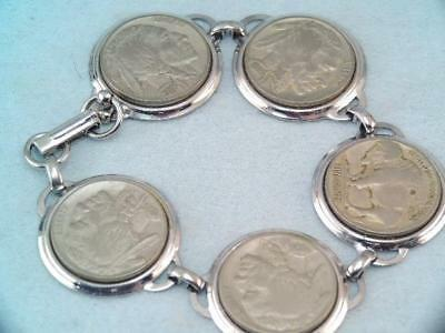 Antique 1935  5 Us Indian Head Buffalo Nickles Charm Bracelet
