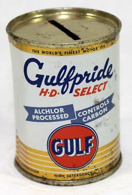 Vintage Miniature Gulf Gulfpride HD Select Motor Oil Can Coin Tin Metal Bank #10