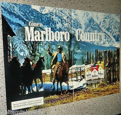 1982 MARLBORO Man Cigarettes 2-page AD Cowboy Mountains Snow