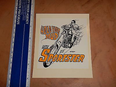 1960's RAT FINK ED ROTH WATER SLIDE DECAL HOLD YOUR MUD WITH SPORTSTER    NOS