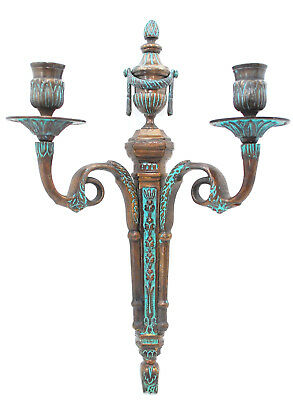Antique French Brass Bronze Neo Classical Nouveau Candelabra Wall Sconce 2 Arm