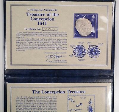 Silver Cob Piece of Eight TREASURE OF THE CONCEPCION 1641 SHIPWRECK Book and COA