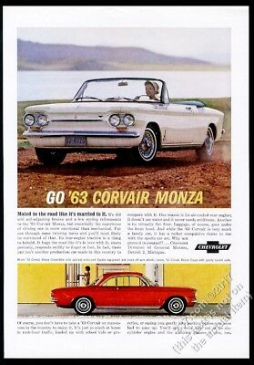 1963 Chevrolet Corvair Monza convertible white car photo vintage print ad