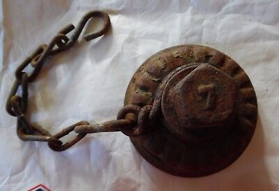Vintage Antique Cast Iron #7 Fire Hydrant Cap W/chain~As Found Rusty Part