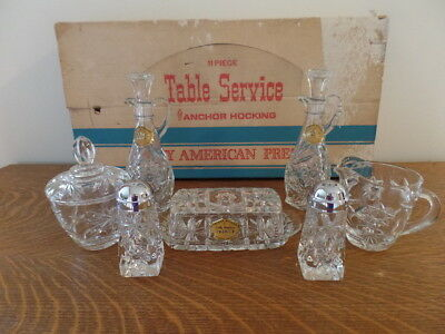 Vintage Anchor Hocking Early American Prescut 11 Piece Table Service with Box