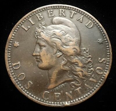 1892 Argentina, 2 Centavos ~ Capped liberty ~ Nice Details