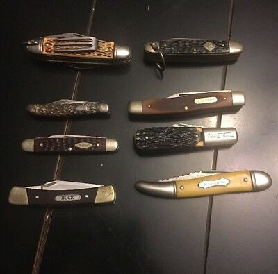 Vintage Lot of 8 USA Parts/Repair Folding Knives CASE XX, BUCK, Schrade & More