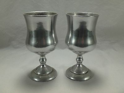 Pair Pewter Chalice Wine Goblet Drinking Cup Antique Hand Cast Solid Bottoms