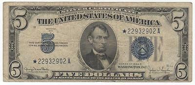 1934-D* $5 Silver Certificate Star replacement note, Wide II Scroll variety.