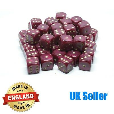 16mm Red Pearl Six Sided Spot Dice - Choose quantity - D6 Game Dice - Wargaming