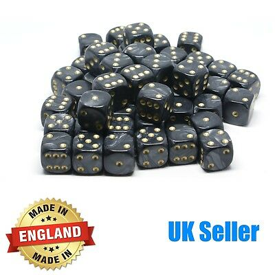 16mm Black Pearl Six Sided Spot Dice - Choose quantity - D6 Game Dice  Wargaming