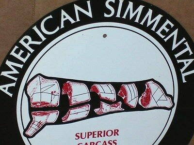 BUTCHER SHOP - MEAT SIGN - AMERICAN SIMMENTAL- Cattle Breed - Shows Cuts of Meat