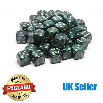 16mm Green Pearl Six Sided Spot Dice - Choose quantity - D6 Game Dice  Wargaming