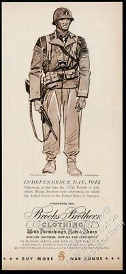 1944 Paul Brown US Army soldier with rifle art Brooks Brothers clothes print ad