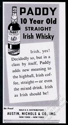 1960 Paddy Straight Irish Whiskey 10 year old bottle photo vintage print ad