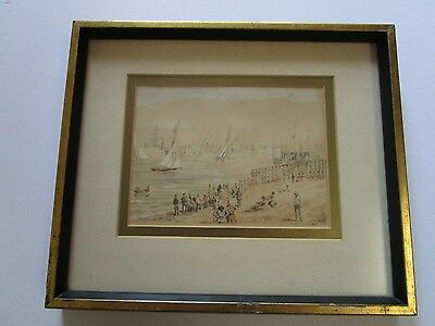 Antique Painting 19Th Century Signed Small Masterpiece 1896 Nautical Coastal Old