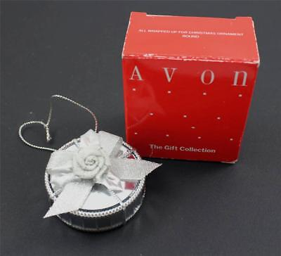 Avon All Wrapped Up For Christmas Ornament Round Mirrored Silver Rose w/Box