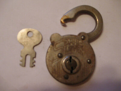 Antique Secure Lever Lock Brass and Steel Lock With Key Antique padlock With Key