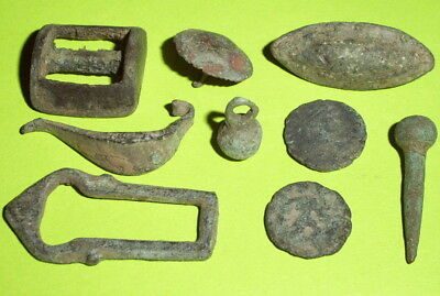 Ancient ROMAN ARTIFACT COLLECTION coin jewelry fibula buckle lot antique pendant