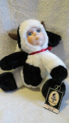 Geppeddo Cuddle Kids Clarice the Cow Porcelain Face Plush Body Doll 2001 NWT