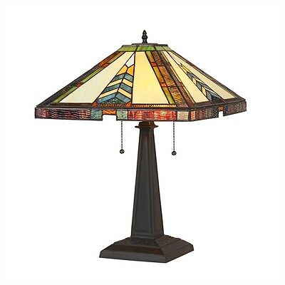 """Matching PAIR Handcrafted Arts & Crafts Stained Glass Table Lamps 22.5"""" Tall"""