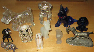 11 VTG Miniature Dog Figurine Mini Puppy Ceramic Porcelain Glass Onyx Metal LOT