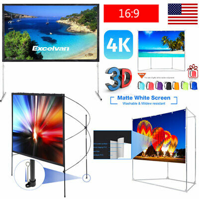 """120/100/80"""" In/Outdoor Portable 4K 3D Projector Projection Screen 16:9 w/ Stand"""