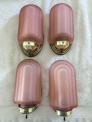 4 Vintage Brass Lighted Wall Sconces With Pink Satin Art Deco Glass Globes NR