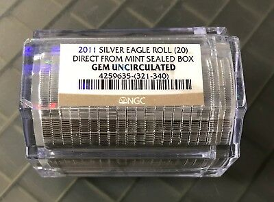 2011 Silver Eagle Roll NGC GEM UNCIRCULATED Direct from Mint Sealed Roll (20)