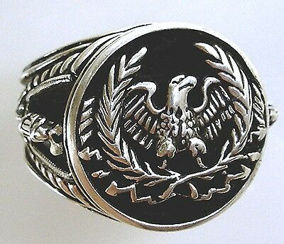 Roman Eagle Fasces Mens Coin ring sterling silver 925