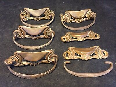 Set of 6 Ornate Antique Vintage Brass Drawer Pulls Handles