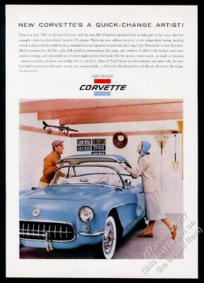 1956 Chevrolet Corvette blue car with hardtop color photo vintage print ad
