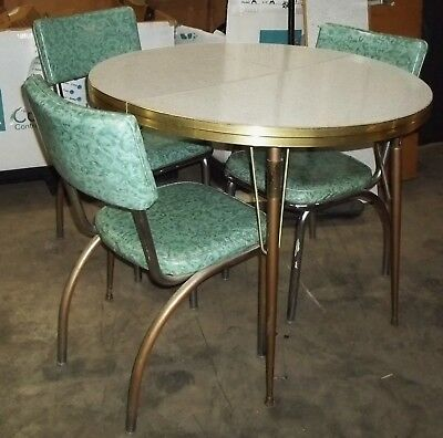 Vintage 1950s Retro Formica Chrome Dinette Kitchen Table/ 3 Chairs & 2 Leaves