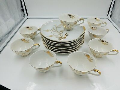Set of 8 Lefton China Snack Plate & Cup Hand-Painted Wheat Pattern Gold Trim